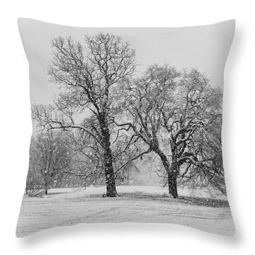 Two Sister Trees Throw Pillow
