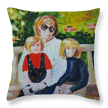 Two Sisters With Sweet Mom Throw Pillow