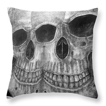 Throw Pillow featuring the photograph Two Skulls ... by Juergen Weiss