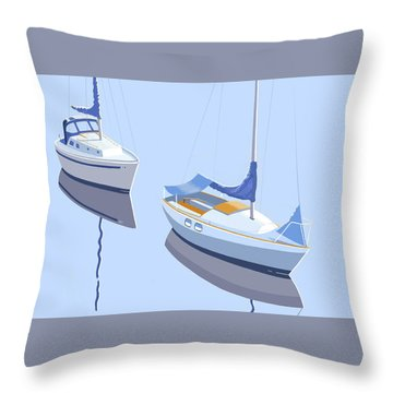 Two Sloops Throw Pillow