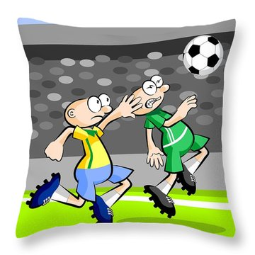 Two Soccer Players Run After The Ball In The Stadium Throw Pillow
