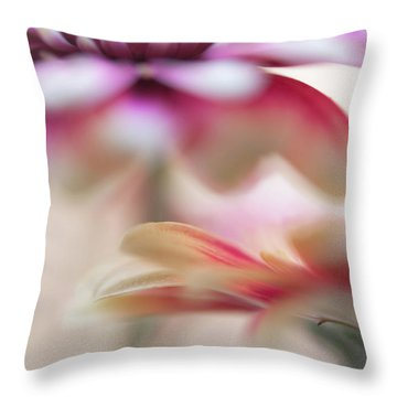 Throw Pillow featuring the photograph Two Souls 1. Macro Gerbera by Jenny Rainbow