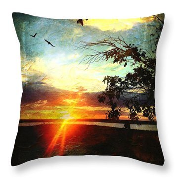 Two Souls Flying Off Into The Sunset  Throw Pillow