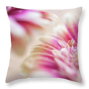 Throw Pillow featuring the photograph Two Souls. Macro Gerbera by Jenny Rainbow