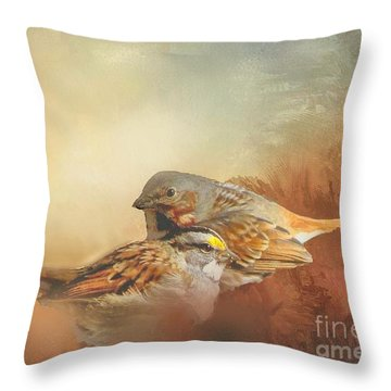 Sparrows In The Marsh 2 Throw Pillow