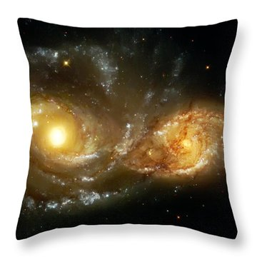 Two Spiral Galaxies Throw Pillow