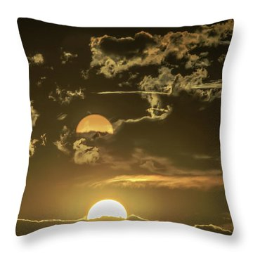 Two Suns Setting Throw Pillow