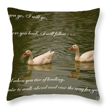 Two Swans - Marriage Vows Throw Pillow