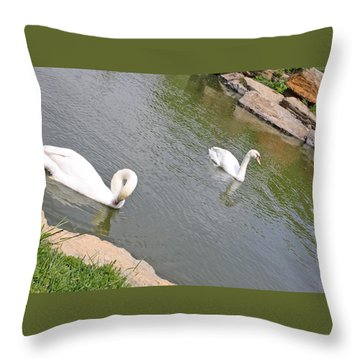 Two Swans A Swimming Throw Pillow by Ellen Tully