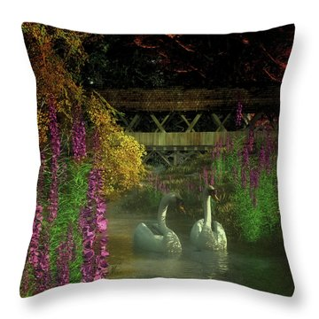 Two Swans And A Bridge Throw Pillow