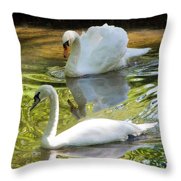Two Swans On A Lake Throw Pillow