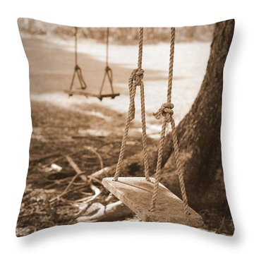 Two Swings - Sepia Throw Pillow