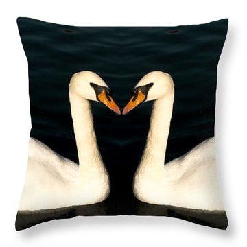 Two Symmetrical White Love Swans Throw Pillow