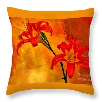 Throw Pillow featuring the digital art Two Tigerlilies by Marsha Heiken
