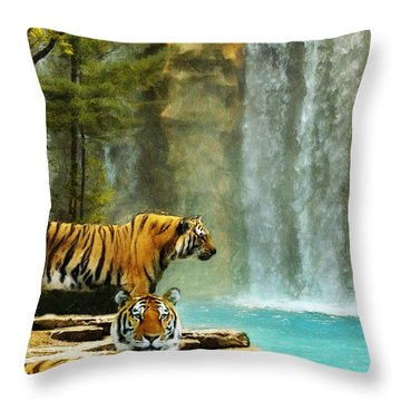 Two Tigers Throw Pillow