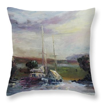 Two Tired Adventurers Throw Pillow by Barbara Pommerenke