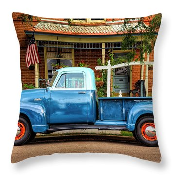 Throw Pillow featuring the photograph Two Tone Blue Truck by Craig J Satterlee