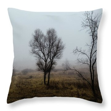 Two Trees In The Fog Throw Pillow