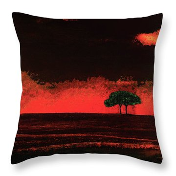 Two Trees In Tuscany Throw Pillow