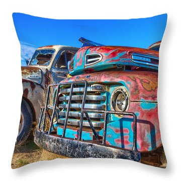 Two Trucks Throw Pillow