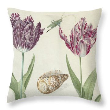 Two Tulips A Shell And A Grasshopper Throw Pillow