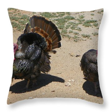 Throw Pillow featuring the photograph Two Turkeys by Joseph Frank Baraba