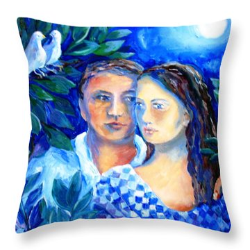 Throw Pillow featuring the painting Two Turtle Doves  by Trudi Doyle