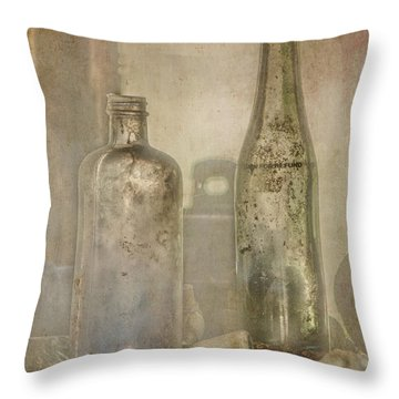 Two Vintage Bottles Throw Pillow