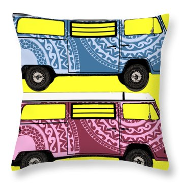 Two Vw Vans Throw Pillow