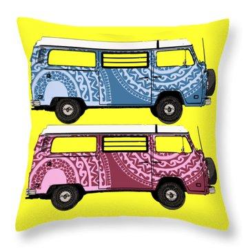 Two Vw Vans Throw Pillow