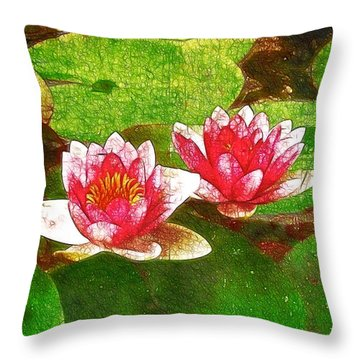 Two Waterlily Flower Throw Pillow by Lanjee Chee