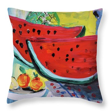 Two Watermelons And Pineapple Throw Pillow