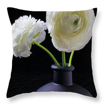 Two White Ranunculus Throw Pillow