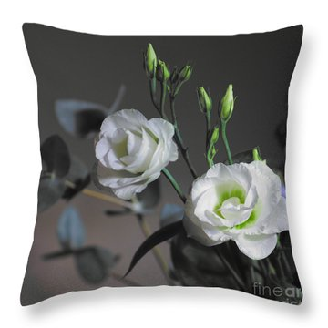 Throw Pillow featuring the photograph Two White Roses by Jeremy Hayden