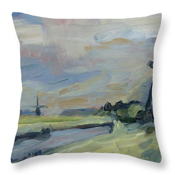 Two Windmills In The Polder Throw Pillow