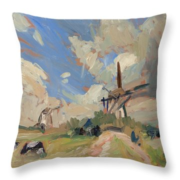 Two Windmills Throw Pillow by Nop Briex