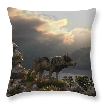 Two Wolfs On A Lookout  Throw Pillow by Walter Colvin