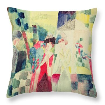 Two Women And A Man With Parrots Throw Pillow by August Macke