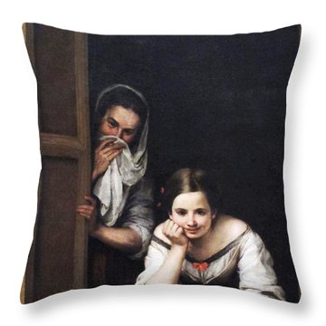 Two Women At Window Throw Pillow by Pg Reproductions