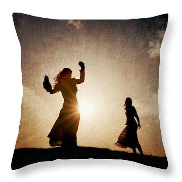 Two Women Dancing At Sunset Throw Pillow