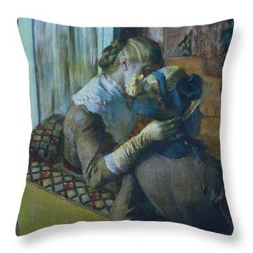 Two Women Throw Pillow by Edgar Degas