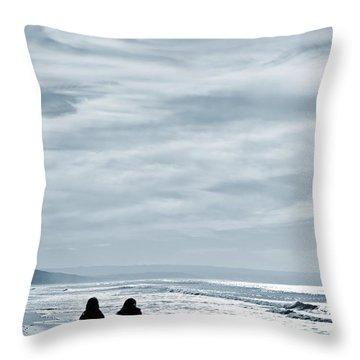 Two Women Walking At The Beach In The Winter Throw Pillow by Jose Elias - Sofia Pereira
