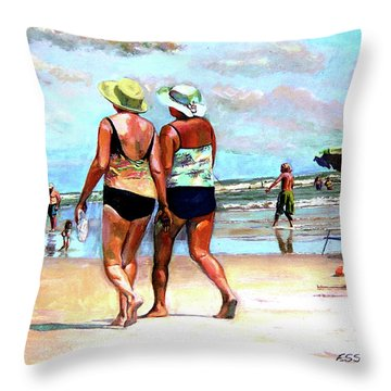 Two Women Walking On The Beach Throw Pillow by Stan Esson