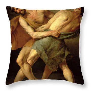 Two Wrestlers Throw Pillow by Cesare Francazano