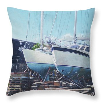 Two Yachts Receiving Maintenance In A Yard Throw Pillow