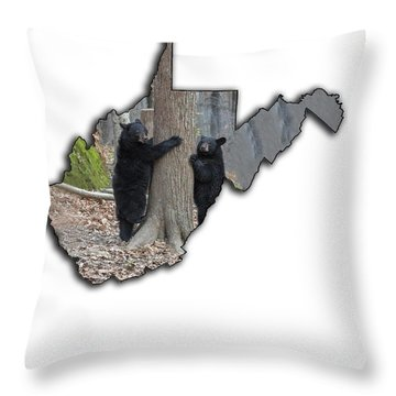 Two Young Black Bear Standing By Tree Throw Pillow