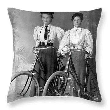 Two Young Ladies With Their Bicycles Circa 1895 Throw Pillow