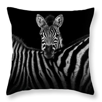 Two Zebras In Black And White Throw Pillow