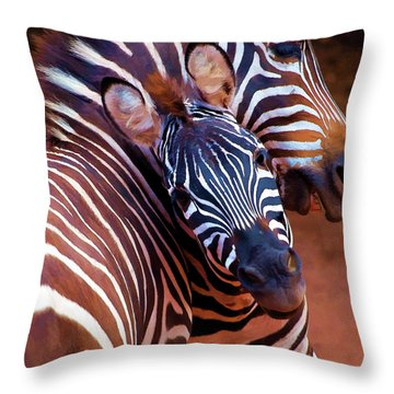 Throw Pillow featuring the mixed media Two Zebras Playing With Each Other by OLena Art Brand