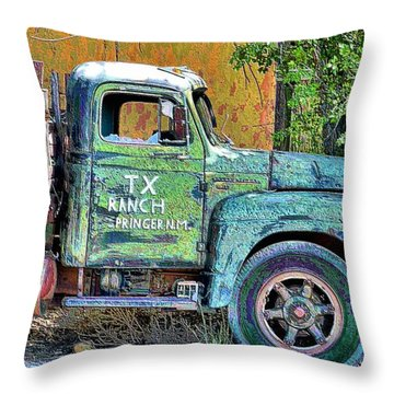 Tx Ranch Truck Throw Pillow